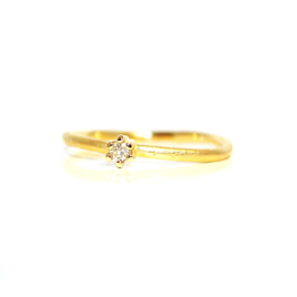 verlovingsring in 18kt geel goud met diamant, (0,10ct) ook mogelijk in rosé goud