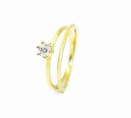 Twist verlovingsring in 18kt geel goud met een lab grown diamant van 0,24ct