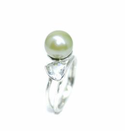 You & Me ring in 925 sterling zilver met Tahiti parel en prasioliet