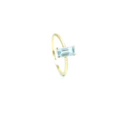 Verlovingsring in 18kt geel goud met een aquamarijn