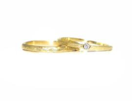Trouwringen, 18kt geel goud met diamant,  1595€