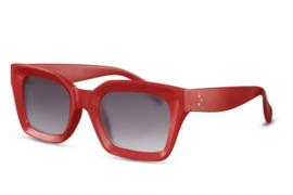 Zonnebril, kleur lens: zwart, kleur montuur: rood, hoogte: 5cm, breedte 14,1cm, 100% uv-bescherming, categorie3. Deze bril wordt geleverd in een hard case