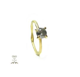 verlovingsring in 18kt geel goud met een salt & pepper diamant (met certificaat) Unieke ring, slechts één beschikbaar, maat 54