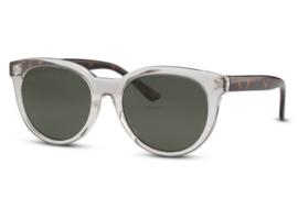 Zonnebril voor dames of heren, kleur lens: groen, kleur montuur: transparant, hoogt 5cm, breedte 14cm, 100% uv-bescherming, categorie 3. Deze bril wordt geleverd in een hard case