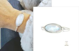 armband  in zilver met maansteen, uniek stuk, slechts één beschikbaar, maat S (tot 20cm)