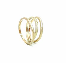 Deze set bestaat uit 3 gehamerde ringen  in 18kt champagne goud, de ringen kunnen samen of apart gedragen worden. Ook verkrijgbaar in geel of rosé goud.