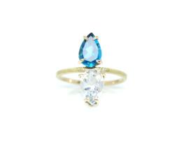 Féline ring in 18kt geel goud met london blue topaz en bergkristal