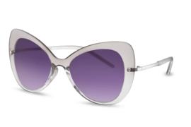 Zonnebril, kleur lens: smoke, kleur montuur: transparant, hoogte: 5,8cm, breedte: 14,1cm, 100% uv-bescherming, categorie 3, deze bril wordt geleverd in een stevige etui