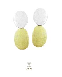 oorbellen in 18kt geel goud en zilver