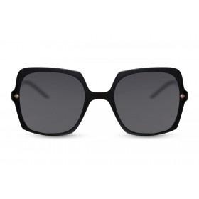 Zonnebril, kleur lens: smoke, kleur montuur: zwart glanzend, Hoogte 5,8cm, Breedte : 14,5cm, 100% uv- bescherming, categorie 3. Deze bril wordt geleverd in een hard case