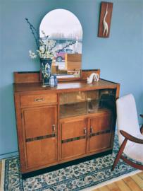 Groot vintage Art Deco dressoir met vitrine en spiegel