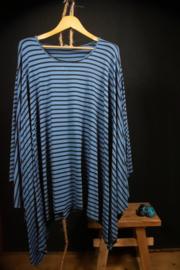 Moonshine shirt met streepje blauw  twee maten
