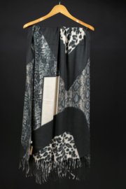 Sjaal zwart grijs wit