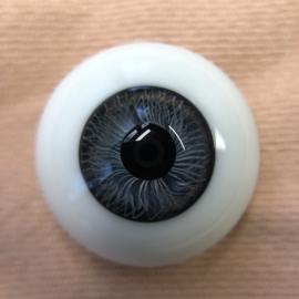 Poppenogen glas halfrond flatback voor o.a. reborn 20 mm blauwachtig grijs