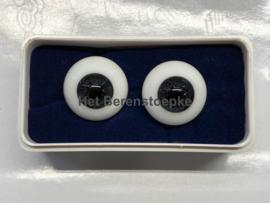 Ronde paperweight ogen van glas in antracietkleur  \ donkergrijs .