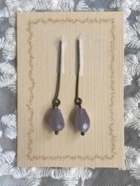 Oorbellen voor antieke pop amethist, licht violet.