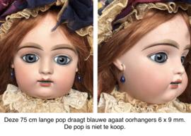 Oorbellen voor antieke pop, blauwe agaat.