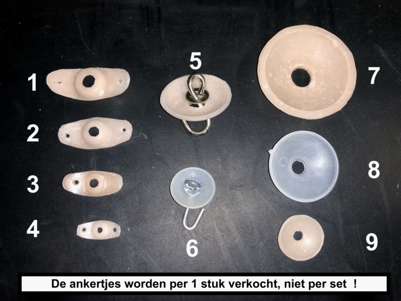 Ankertjes schijfjes  ( per stuk, niet per set ! )  voor het elastieken van een oude pop
