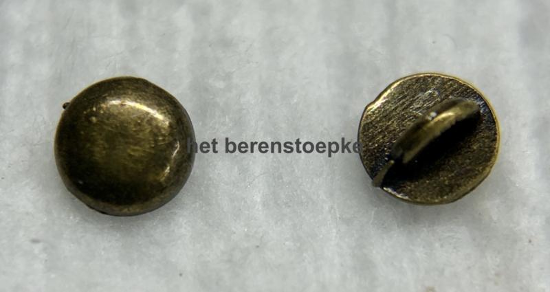 10 mini metalen poppenknoopjes rond en bol 4 mm doorsnede.