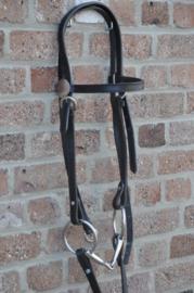 Westernhoofdstel zwart pony/cob compleet met bit en reins