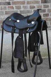 Kunststof Westernzadel zwart Kind Compleet