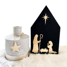 Houten huisje kerststalletje