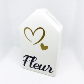Spaarpot huisje met naam - hartjes