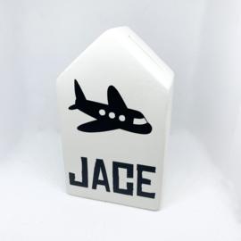 Spaarpot huisje met naam - vliegtuig