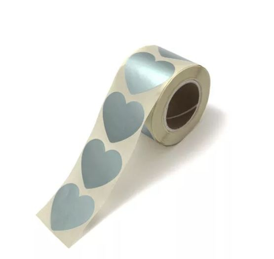 Set stickers | metallic mint hearts