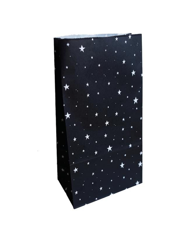 Blokbodemzak sterren | 14x8x26cm