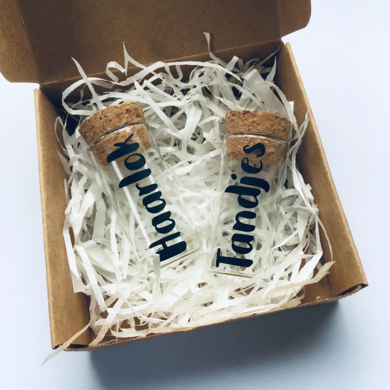 Haarlok & Tandjes setje in cadeauverpakking