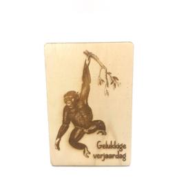 Houten kaartje Gelukkige verjaardag aap
