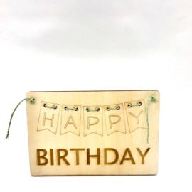 Houten kaartje Happy birthday slinder