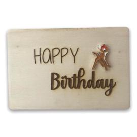 Houten kaartje Happy Birthday bambi
