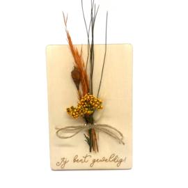 Houten kaartje Jij bent geweldig droogbloemen