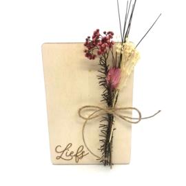 Houten kaartje Liefs droogbloemen
