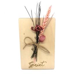 Houten kaartje Geniet droogbloemen