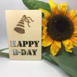 Houten kaartje Happy b-day uitgesneden