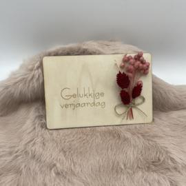 Houten kaartje Gelukkige verjaardag droogbloemen (liggend)