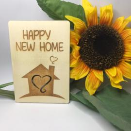 Houten kaartje Happy new home