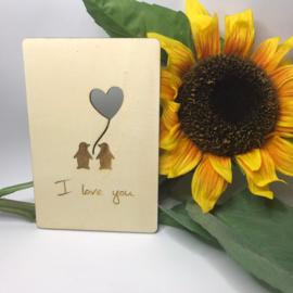Houten kaartje I love you