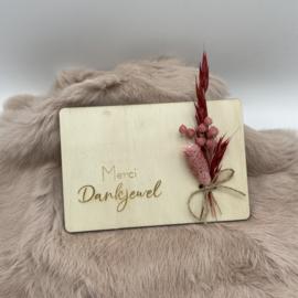 Houten kaartje Merci Dankjewel droogbloemen (liggend)
