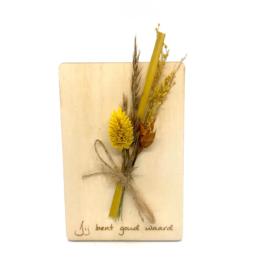 Houten kaartje Jij bent goud waard droogbloemen