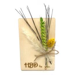 Houten kaartje HBD to you droogbloemen