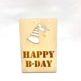 Houten kaartje Happy b-day