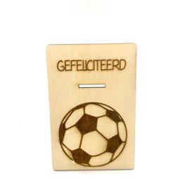 Houten kaartje Gefeliciteerd voetbal
