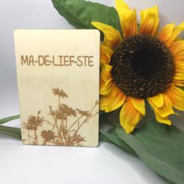 Houten kaartje Ma-de-lief-ste
