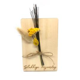 Houten kaartje Gelukkige verjaardag droogbloemen