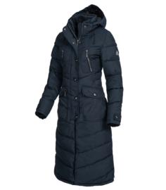 Elt dames lange winterjas Saphira nachtblauw met rijsplitten