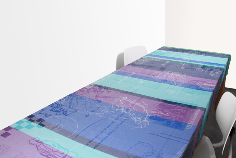 Tablecloth & 4 napkins Dutch National Archives, blue-green